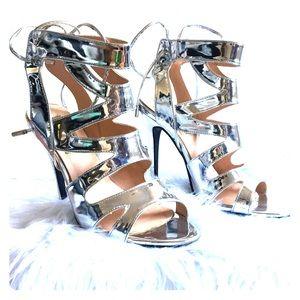 Silver strappy stilettos size 8